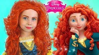Kids Makeup Merida & Costume Disney Princess Alisa Pretend Play with DOLL in a Real Princess