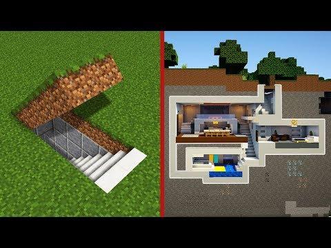 Minecraft: How to Build  A Modern Secret Base Tutorial - (Hidden House)