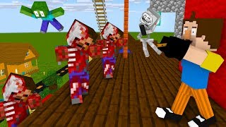 Monster School : HELLO NEIGHBOR ZOMBIE APOCALYPSE - FIND MAGICAL FLUTE  - Minecraft Animation