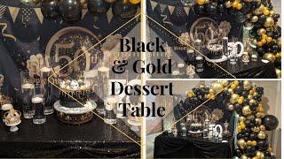 Black & Gold 50th Birthday Decor   Balloon Garland tutorial   DIY balloon arch  Yvonne Moore Events