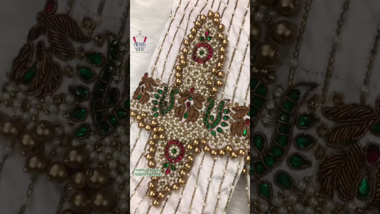 """<p style=""""color: red"""">Video : </p>Jewellery maggam work blouse designs / prabhablouses / maggamwork 2021-09-26"""