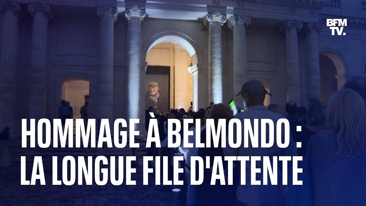 Hommage à Jean-Paul Belmondo: les images de la longue file d'attente devant les Invalides
