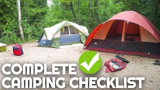 Complete Camping Checklist | Everything You Need For A Weekend Of Camping | Camping For Beginners