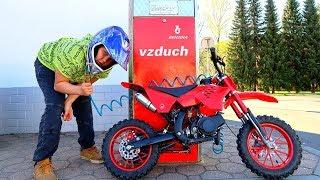 Funny Video Baby Ride on New Cross Bike Mini Power Wheel Pocket Bike Fuel Station