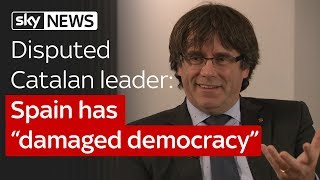 """Disputed Catalan leader Carles Puigdemont: Spain has """"damaged democracy"""" - Video Youtube"""