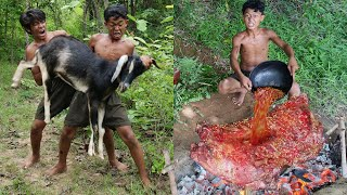 Primitive Technology - Meet The Goat And Cooking & Eating delicious