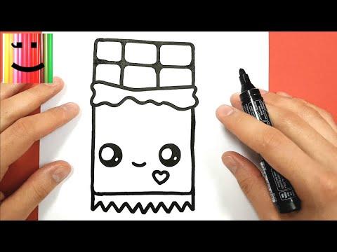 Hoe teken je schattige chocolade how to draw a chocolate bar kawaii - Dessin tablette chocolat ...