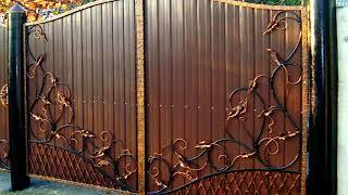 Красивые ворота из профнастила с элементами ковки фото видео