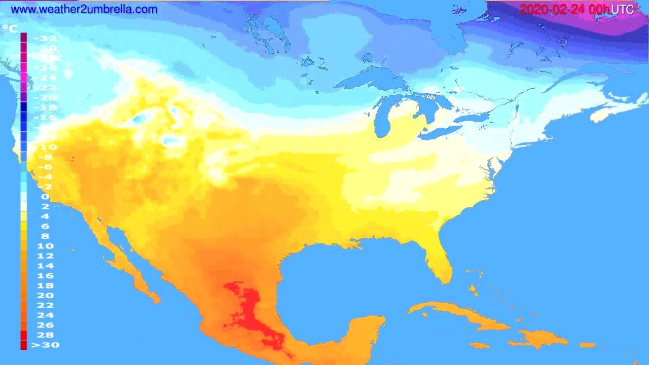 Temperature forecast USA & Canada // modelrun: 00h UTC 2020-02-23