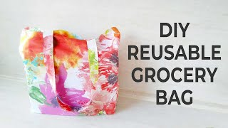DIY REUSABLE GROCERY BAG // How To Make Foldable Shopping Bag // Step By Step Tutorial