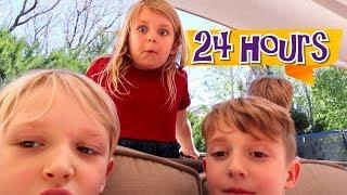 24 Hours Outside Challenge! Treasure Family Kids Backyard Adventure / The Beach House