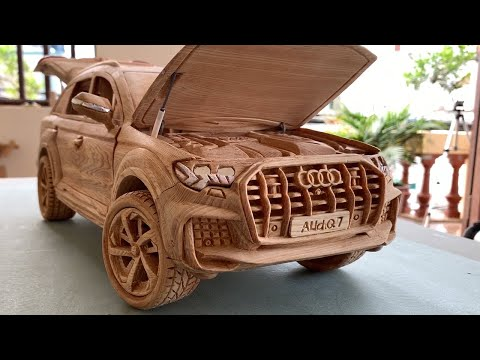 sculpture of audi q7 2021 car by wood working art