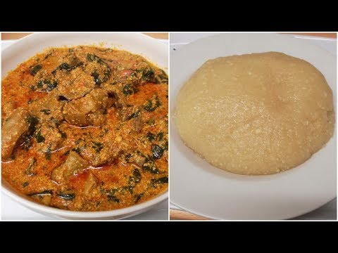 HOW TO MAKE EGUSI SOUP WITH SPINACH AND EBA