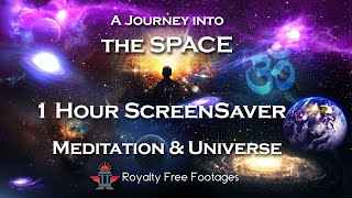 Cosmic journey screensaver | Space travelling background | Space sound for meditation