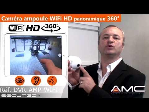 CAMERA 360°(3D) IP WIFI DANS UNE AMPOULE AVEC ACCES SUR SMARTPHONE [SECUTEC.FR]