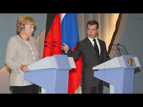 Дмитрий Медведев и Ангела Меркель. Совместная пресс-конференция в Сочи (Вести, 15.08.2008)