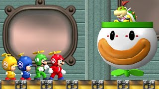 New Super Mario Bros. Wii - All Bosses (4 Players)