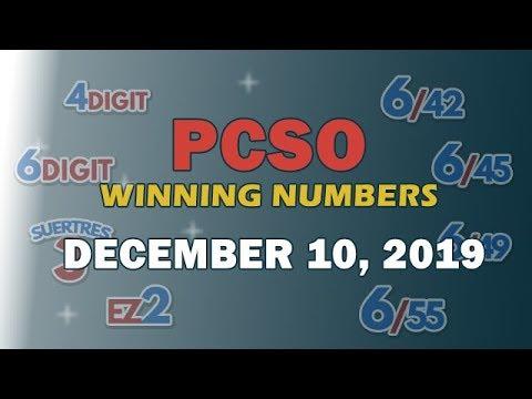 P65M Ultra Lotto 6/58, EZ2, Suertres, 6Digit, Lotto 6/42 and Superlotto 6/49 | December 10, 2019