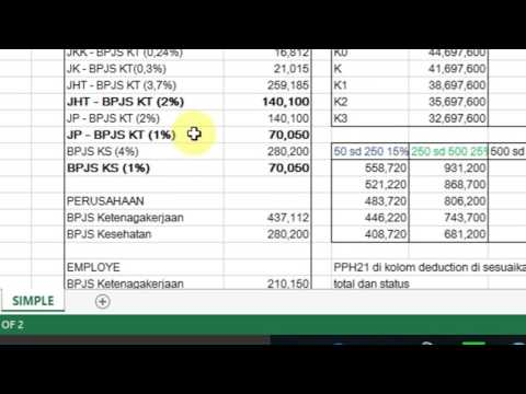 Tutorial slip Gaji Karyawan Excel  (BPJS PPH21)  2016 - Free download