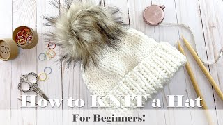 How to KNIT a HAT for Beginners // TUTORIAL!