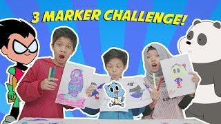 3 MARKER CHALLENGE WITH FATEH HALILINTAR AND FATIMAH HALILINTAR !!   Kocak Banget!
