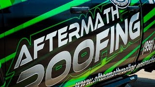 Full Color Vehicle Wrap with 3M vinyl for AfterMath Roofing Laredo