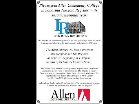 Library Cultural Series 9/27/17: Allen Honors The Iola Register