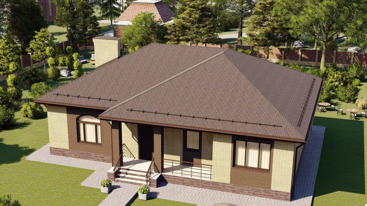 Проект одноэтажного дома с пятью комнатами