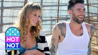 Adam Levine Cuddling Ex-Girlfriend in Bed on a Pier While Shooting Never Gonna Leave This Bed