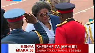 Barbados prime minister Mia Mottley arrives for the 56th jamhuri day at Nyayo stadium