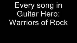 Guitar Hero Warriors of Rock Full Official Setlist - With Music!