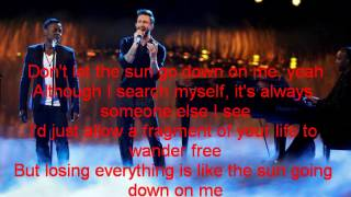 Damien and Adam Levine-Don't Let The Sun Go Down On Me-The Voice 7[Lyrics]
