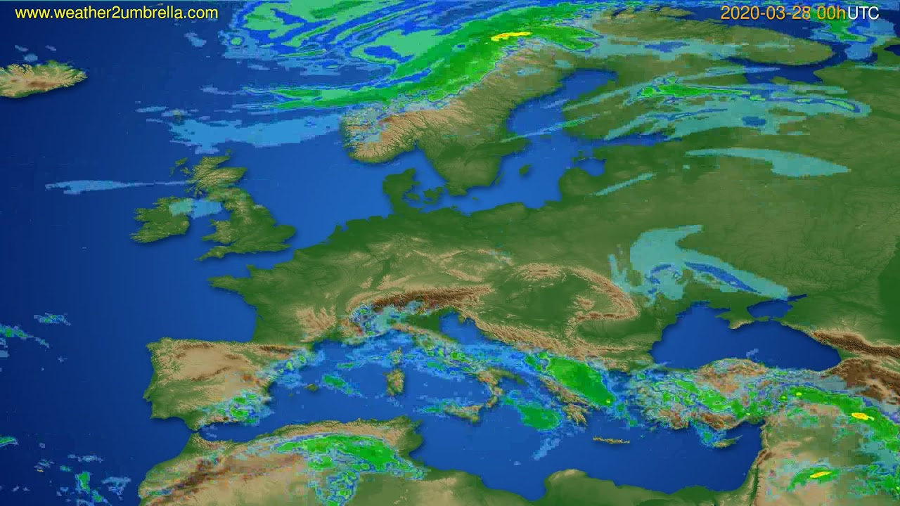 Radar forecast Europe // modelrun: 12h UTC 2020-03-27