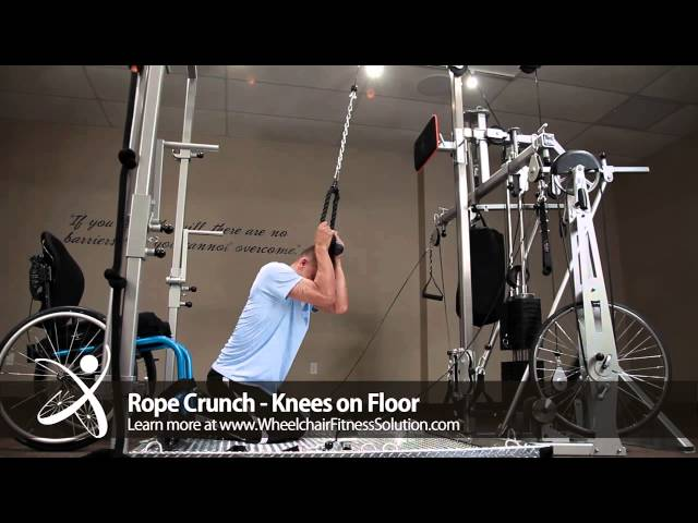 Wheelchair Fitness Solution | Exercise: Rope Crunch – Knees on Floor (12 of 40)