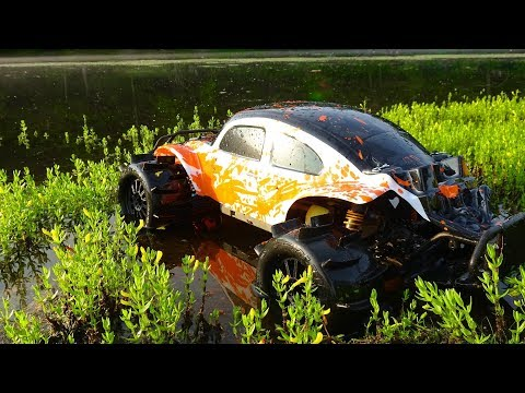 RC Truck Hydroplaning Wheelies, Crashes, And Fails! Traxxas Slash 4x4 Brushless Water Skipping