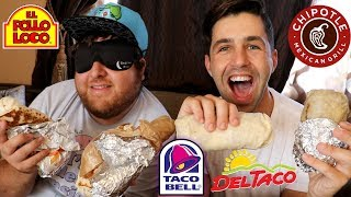 BURRITO + BLINDFOLD FASTFOOD CHALLENGE! (GUESS THE RESTAURANT!)