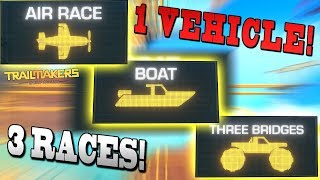 1 VEHICLE 3 RACES! [CAR/PLANE/BOAT] - Trailmakers Early Access Gameplay Ep35
