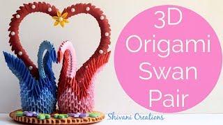 3D Origami Swan Pair/ DIY Valentine's Day Love Birds Showpiece