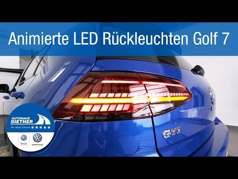 Animierte LED Rückleuchten an einem normalen VW Golf 7 VII