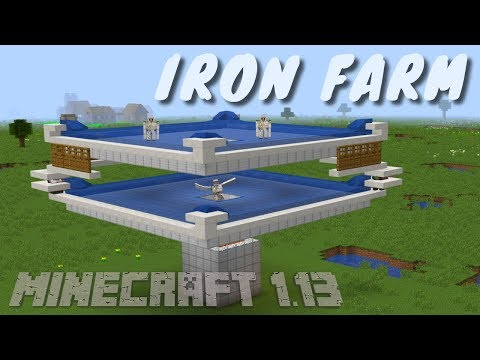 How To Make An Iron Farm In Minecraft Update Aquatic 1.13 | Updated Iron Farm Tutorial By Avomance