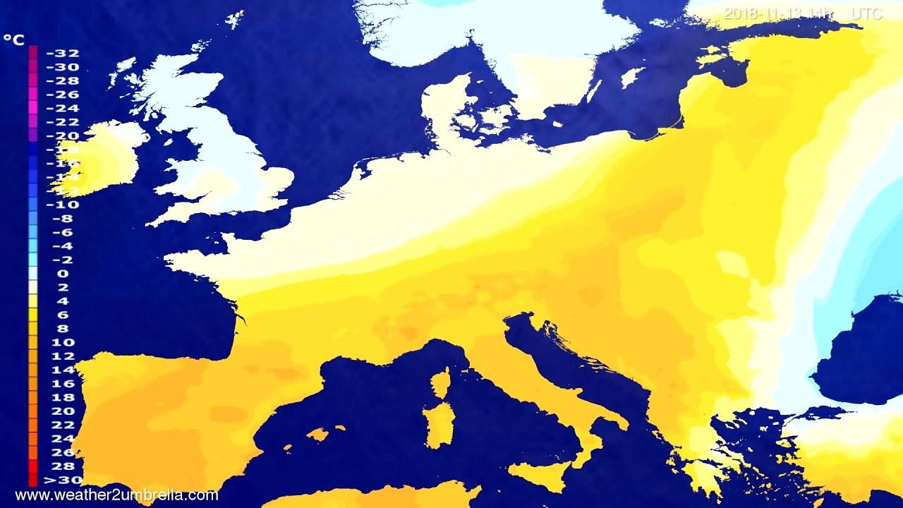 Temperature forecast Europe 2018-11-09