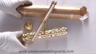 S-1003, Golden Color, Scroll Wedding Invitations, Indian Scroll, Universal Wedding Cards
