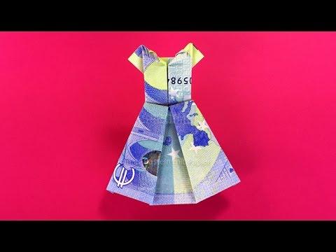Geldscheine falten: Kleid - Geldgeschenke basteln - DIY Origami mit Geld falten