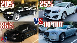 How it Looks to Have 35%, 25%, and 20% Window Tint AT NIGHT! | Night Driving Comparison