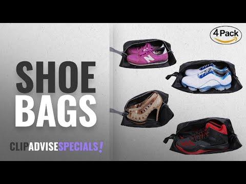 10 Best Shoe Bags [2018 Best Sellers]: YAMIU Travel Shoe Bags Set of 4 Waterproof Nylon With Zipper
