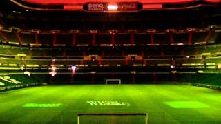WISekey Logo projected on the Real Madrid Stadium Santiago Bernabéu
