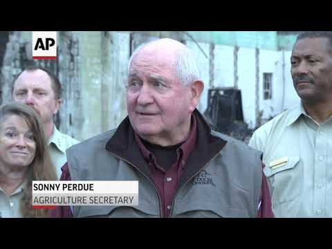 Interior Secretary Ryan Zinke and Agriculture Secretary Sonny Perdue viewed fire damage in Northern California on Monday and pushed for more aggressive forest management to lessen the damage of increasingly fierce wildfires. (Nov. 27)