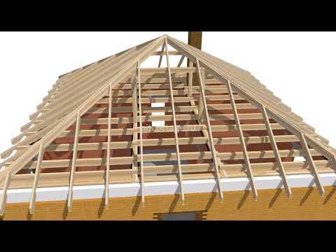 Самая простая 4-х скатная кровля из металлочерепицы Ч.1. / Hipped roof, metal (English subs)