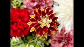 【100均材料だけで つまみ細工】kanzashi Flower DIY  成人式髪飾り 作り方