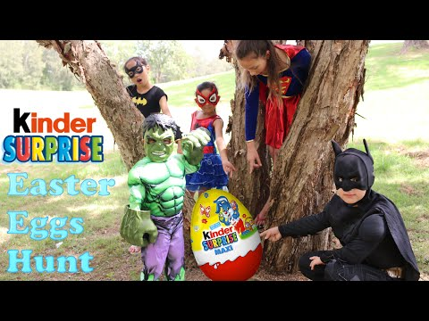 Super Heroes Easter Kinder Surprise Maxi Egg Hunt With Batman Hulk Supergirl Spidergirl Ckn Toys
